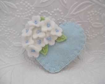 Felt Flower Brooch Beaded  Blue Heart Pin Wool Felted Flowers