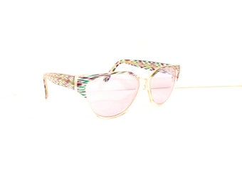 90s Cat Eye Sunglasses Women's Vintage 1990's Translucent Green & Purple Pattern Frames with Purple Lenses #M613 DIVINE