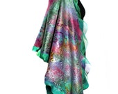 Handmade Nuno Felted Wrap Felted Scarf Large Hand Dyed Multicolor OOAK Felt Gift Fashion Accessory