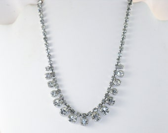 Vintage Clear Rhinestone Choker Necklace (N-4-2)