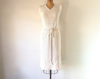 1960s Vintage White Crochet Dress Hand Knitted Ivory Open Knit Lace Bridal Sweater Dress S/M