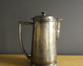 Hi Ho Silver - Vintage Silver Tea or Coffee Pot - Silverplate Pitcher with Hinged Lid - Hilton Hotel