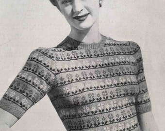 1940's vintage knitting pattern - Fair Isle 3