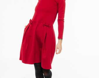 Red bow dress   Bright red dress   All season dress   LeMuse red bow dress