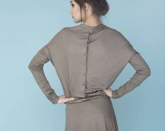 SALE - Beige dress | Dress with sleeves | Button back dress | LeMuse dress with sleeves