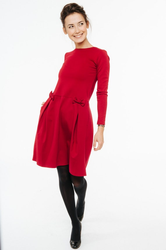 Red bow dress | Bright red dress | All season dress | LeMuse red bow dress