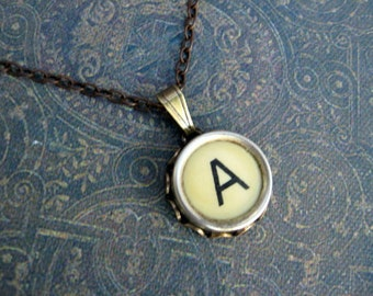 Initial Necklace - Typewriter Key Necklace - Initial A