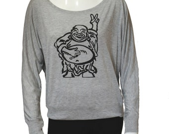Hotei - Happy Lucky Buddha | Flowy Long-Sleeve Off Shoulder T-Shirt