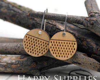 2pcs / 1 Pairs (HEW08) Laser Cut Wooden Dangle Earrings - HEW Series