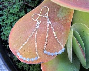 Light Blue Chandelier Earrings