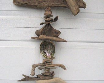 Driftwood Mobile With Pink Abalone Shell-DC1180