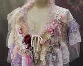 Ballerina shrug,  - bohemian shabby chic shrug,nuno felted silk, vintage trims, vintage fabrics
