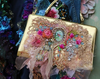 Golden baroque purse- shabby chic upcycled vintage  purse, embroidered , vintage trims