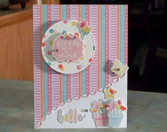 Handmade Hello Card - Bloom Where You Are Planted - Floral Themed with Potted Plants & Butterfly