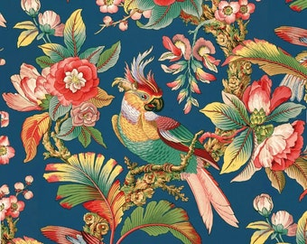 antique french chinoiserie wallpaper tropical birds peony illustration digital download