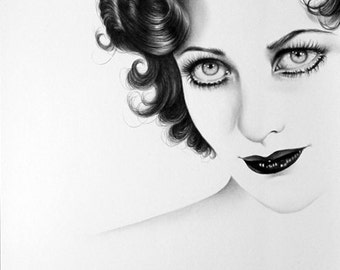 Joan Crawford Pencil Drawing Fine Art Portrait  PRINT Hand Signed