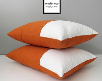 Modern Outdoor Pillow Cover, Decorative Orange & White Color Block Pillow Case, Tuscan Sunbrella Cushion Cover, Throw Pillow Case, Mazizmuse