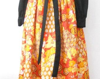 Vintage Iconic Hostess Dress •  1970s Quilted Hostess Dress • Bold Orange Black Print Long Dress