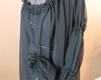 Size XXL Black Sheer Hip Length Chemise  Renaissance Costume Dress Chemise Medieval Peasant Shirt