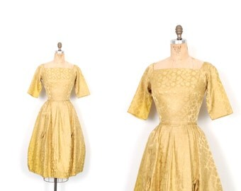 Vintage 1950s Dress / 50s Satin Brocade Leaf Print Party Dress / Gold ( extra small XS )