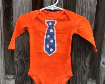 Baby Bodysuit with Tie, Baby Tie Bodysuit, Polka Dot Tie Baby Bodysuit, Baby Boy Gift, Baby Shower Gift, Orange Baby Gift (6 months)