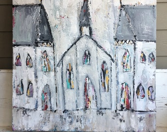 "Church painting, 36 x 36 (1.5""deep profile) acrylic painting, abstract church art, original painting, whites and greys, fine art,"