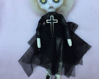 GOTH Cloth Doll - Painted Goth Ragdoll - Illustrated Goth Doll - Gift for Her - Goth Art Doll - Creepy Doll - Odd Cute Doll