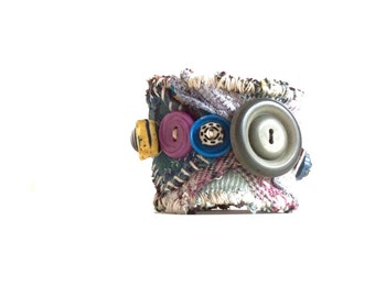 Unique Bracelet, Repurposed Textile Art Cuff, Blue Purple Yellow Gray