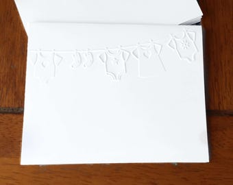 Embossed  Cards / Set of 12 / Card Stock / A2 Envelopes / Craft Supplies / Scrapbooking
