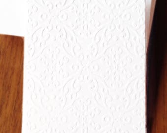 Embossed Note Cards / Set of 12 / Card Stock / A2 Envelopes / Craft Supplies
