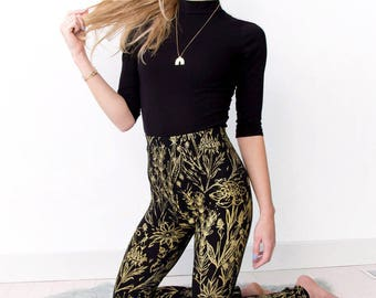 Floral Leggings - Hand Printed - Organic Cotton - High Waisted Leggings - Slow Fashion - Gold on Black Growing Garden - Thief and Bandit®