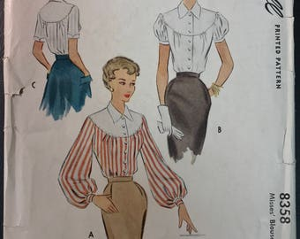 Vintage McCall 1950's Blouse Pattern # 8358 - Uncut - Curved Yoke, Fitted Waist - Size 14, Bust 32