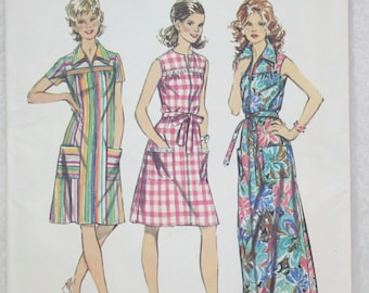Size 14 1/2 Bust 37   Vintage Simplicity Sewing Pattern 5028 70s Smock Dress with Pockets and Neckline Variation