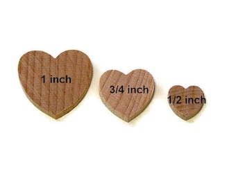 "1"", 3/4"", or 1/2"" Wide Unfinished Wood Hearts in Lots of 50, Ready to Paint DIY Wooden Hearts"