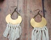 Crescent Moon Jewelry Fringe Earrings Boho Earrings Crescent Moon Earrings Brass Earrings Gypsy Jewelry Tassle Earrings Boho Chic Jewelry