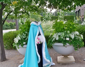 Classic Audrey Hepburn Bridal Cape 52/67-inch  Blue-Lagoon / Ivory Satin Wedding Cloak hooded with Fur Trim Handmade in USA