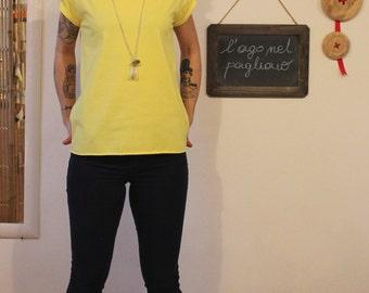 Cotton T-shirt, women t shirt,design t shirt for women, yellow shirt, clothing for women,women's clothing