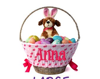 Large Personalized Easter Basket Liner for oversized baskets, Pink Rabbits, Basket not included, Jumbo, Monogrammed Easter basket liner