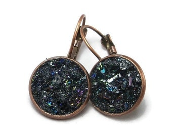 Carborundum Crater Red Brass Druzy French Earrings