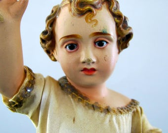 Antique Christo Portuguese Inset Glass Eyes Dressed Ceremonial Feast Day Christ Signed Marked 1920s