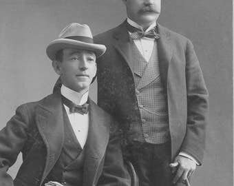 Two Men Vintage Male Mustache Hats Edwardian Victorian Handsome Dapper Same Sex Male Couple Vintage Gay Wedding Photography Photo Print