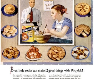 1951 Betty Crocker Bisquick Baking & U.S. Keds Shoes United States Rubber Company Advertisement Print Ad Poster Diner Wall Art Home Decor