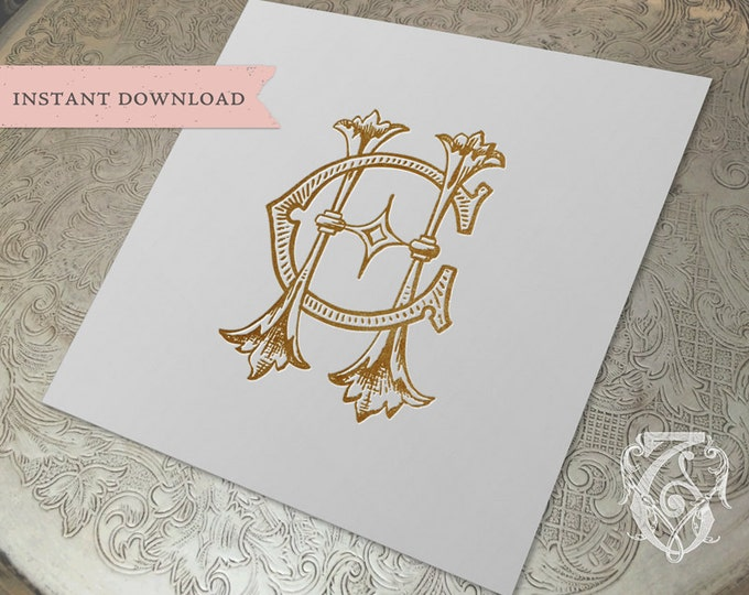 Vintage Wedding Monogram CH HC Digital Download H C