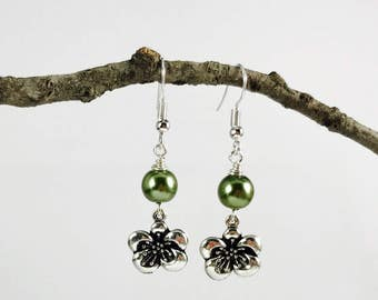 Flower Charm Earrings - Pearl Color Options - Antique Silver Flower with glass pearl - Custom Options - Floral/Pearl Earrings