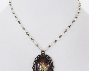 Necklace Cameo Pendant with Pressed Flower in Brass and Crystal Beaded Chain
