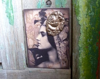Victorian Silver Plated Tin, Rose Brooch, Rose Relief, C-Clasp, Victorian Boho Pin Up Printed Card, Antique Brooch Card, Piddix Design Card