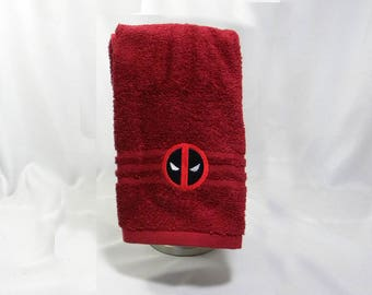 Deadpool Wade Wilson comic book inspired embroidered hand towel