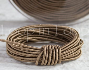 Taupe SILK cord, Wrapped Silk Satin Cord rope 1.5 mm thick, organic natural hand spun silk, polyester core, for Jewelry (3 feet)