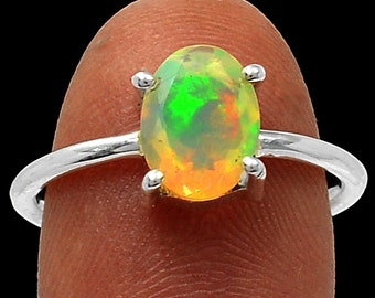 Opal Engagement Ring Opal Firey Solid Faceted Ring AAA Quality Opal Solitaire Ring Opal Ring in Solid Sterling Size 7