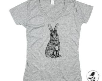Womens Rabbit Shirt - Womens Grey Vneck - Rabbit Tshirt - Rabbit V-Neck - RABBITS - Triblend - Small, Medium, Large, XL